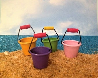 Beach Pails Fairy Garden Dollhouse Accessories
