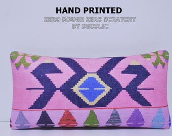 NOMADIC Bohemian Home Decor Turkish Kilim Inspired Lumbar Pillow Cover 12x24,Decorative Kilim Pillow,Lumbar Kilim Pillow,Throw Pillow 85-30