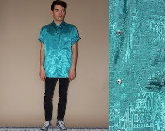 80's vintage men's turquoise patterned silk shirt
