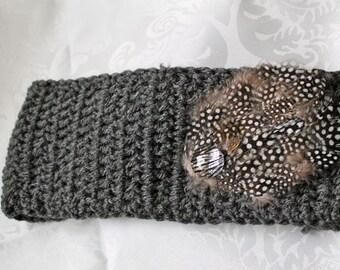 Crocheted Headband - Feather Headband - Ear Warmer - Ear Muff - Winter - Vintage Inspired Ear Warmer - Crystal Headband - 1920s - Flapper