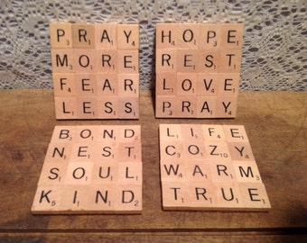 Scrabble Tile Coasters Set of four