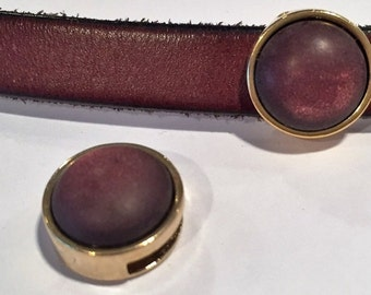 1 Gold, Glowing Maroon Slider, 10mm Flat Leather cord slider, bracelet finding, jewelry supplies