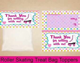 Roller Skating Treat Bag Toppers, Roller Skate Goodie Bags, Roller Skating Candy Bag Toppers, Roller Skate, Roller Skating