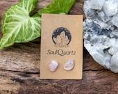 Rose Quartz Crystal Earring Studs
