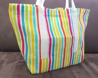 Colorful Stripes tote bag, cotton bag, reusable grocery bag, knitting project bag, Green Market bag