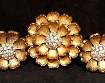 Flower Rhinestone Brooch & Clip On Earrings, Brushed Gold Tone Vintage Costume Jewelry, Demi Parure