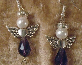 Swarovski Crystal Loving Angel Pierced Earrings In Silvertone, Pink. Purple, Yellow, Orange & Topaz FREE SHIPPING