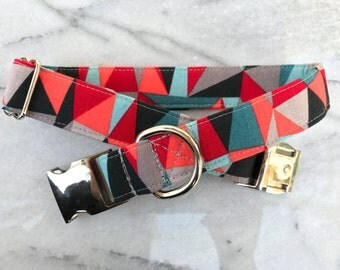 Geometric Dog Collar with Metal Buckle - Aluminum Buckle, Puppy, Handmade, Silver Buckle, Blue, Coral, Gray