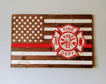 Fire Fighters Thin Red Line Chiseled USA rustic flag with Fire Cross.