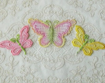 Set of 3 Hand Dyed Venise Lace Butterfly Appliques / Emblishment - Sewing, Crafts, Costumes, Crazy Quilt, Scrapbooking