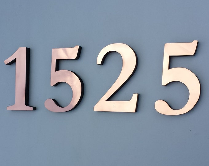 "Copper Block 3D house numbers  6""/150 mm in Garamond font,   laquered, standoff/floating fitting g"
