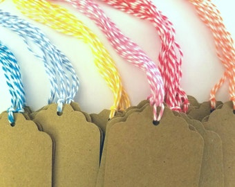10 Kraft Tags with Choice of Colored Baker's String