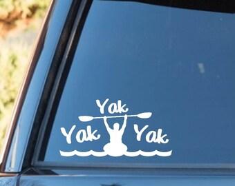 H1122 Yak Yak Yak Kayak Decal Sticker