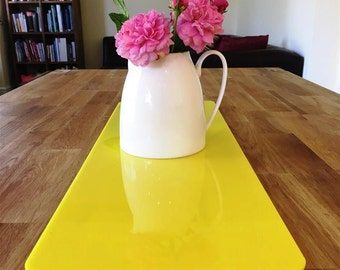 Rectangular Table Runner in Yellow Gloss Finish 3mm Acrylic - 2 Sizes Available