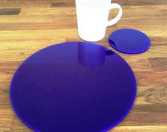 Round Placemats or Placemats & Coasters - in Purple Gloss Finish Acrylic 3mm