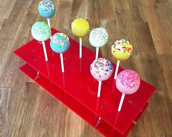 """Rectangle Red Gloss Acrylic Cake Pop Stands - 31x13cm - 8.5""""x5"""" (12 cakepops) or 45x16cm 17.5""""x 6"""" - (36 cakepops)"""
