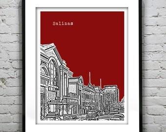 Salinas Skyline Poster Art Print California CA Version 1