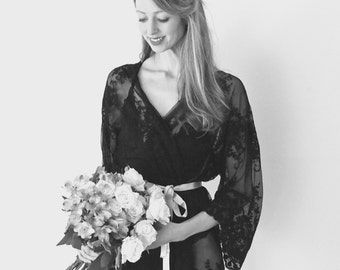 HELENA  Black guipiere lace kimono - getting ready bridal kimono, valentines day, lingerie, trousseau, honeymoon, Valentine's Day gift