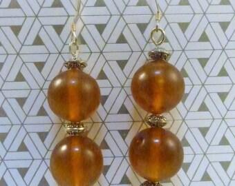 Vintage Amber Beads on Sterling Silver Earrings