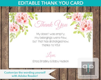INSTANT DOWNLOAD Girl Floral Baby Shower Thank You Card, Printable Roses Baby Shower Thank You Card, Editable Baby Shower Thank You Card