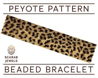 Leopard Print Pattern | Peyote Beading Bracelet | Cuff Bead Pattern | Miyuki Delica | PDF Instant Download