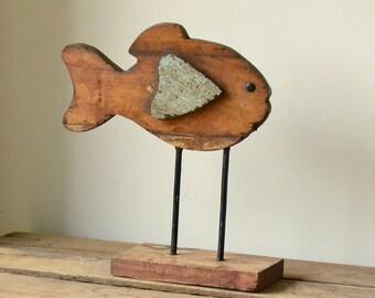 Reclaimed Hardwood Rustic Handmade Fish Statue