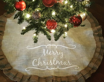 ivory and tan rustic shabby burlap christmas tree skirt - Rustic Christmas Tree Skirt