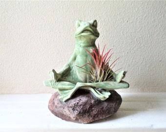Meditating frog, frog gift, frog planter, air plant holder, zen frog