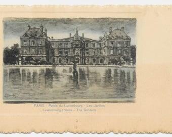 Paris Etching Luxembourg Palace Postcard, c. 1910