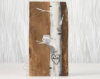 Snowy Owl Painting Wood 5th Anniversary Gift Owls Rustic Wood Signs  Aspen Tree Painting White Birch Tree Art Custom Wedding Gift for Couple