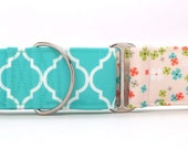 Light Teal Garden Gate CANVAS Dog Collar (Martingale, Buckle or Tag)