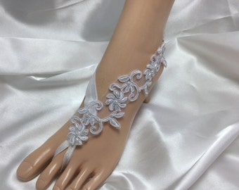 White  Lace Bridal Barefoot Sandal, White Bridal Beaded Lace Barefoot, Beach Wedding Sandals, Lace Bridal Barefoot Sandals,  Barefoot Sandal
