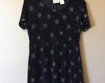 90s Black Velvet Sparkly Floral Dress