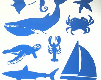 Ocean Life Indoor Vinyl Decal, Indoor Vinyl Decal, Stingray, Seahorse, Starfish, Whale, Crab, Sea Turtle, Lobster, Shark, Sailboat
