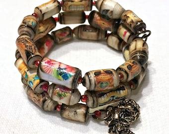 Memory Wire Paper Bead Bracelet - Tiki