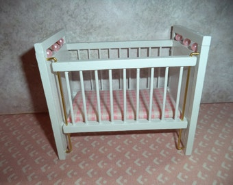 1:12 scale Vintage Dollhouse White Crib (Girl)