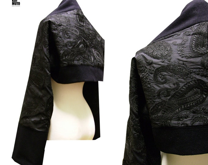 SALE 40%  Kaschmir Silk sleeve scarf shrug black paisley