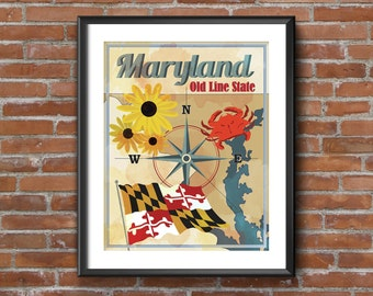 Vintage Maryland Flag Art - Old Line State 16 x 20 Map Print of Blue Crabs, Flag and Black-eyed Susans Featured on NCIS Episode