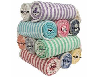 Set of 2 Turkish Hammam Towel Peshtemal Towel Pestemal Towel Beach Towel Bath Towel Cotton Spa Sauna Pool Towel