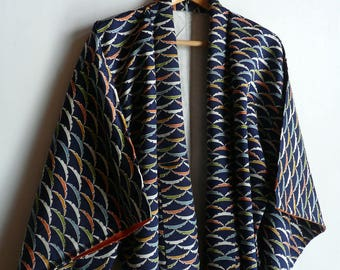 Japanese vintage kimono - dark blue - dewy grass/snow flake print - synthetic fabric - WhatsForPudding #1006