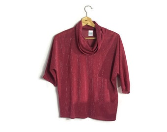 Red silver batwing top // 80s maroon  top // red wine vintage top //boho 80s batwing top // vintage xmas party // cowl neck top