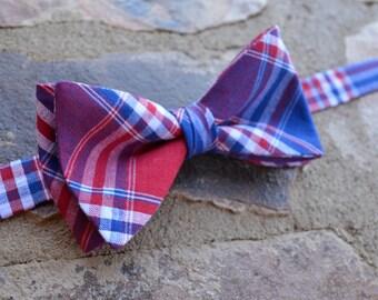 plaid bow tie,red blue plaid bow tie for men,mens bow tie