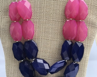 Pink Blue Necklace Double Strand Necklace Mutlicolor Necklace Pink Navy Necklace Pink Blue Statement Necklace Chunky Necklace Trendy Jewelry