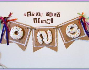 Donut Party Banner, Donut First Birthday, First Birthday Banner, Multicolored 1st Birthday Banner, One High Chair Banner, Donut Birthday,One