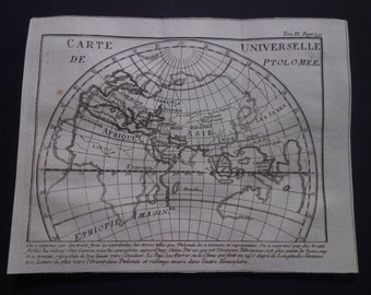 Ptolemy antique worldmap 1771 original old print of Ptolemy's world map - vintage history maps illustration 16,5x21c 6,5x8,3""