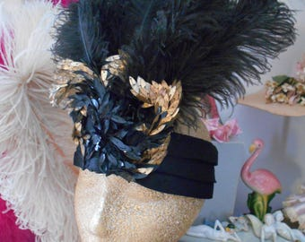 Amazing Edwardian/Flapper/Gatsby 1920's Black Ostrich Feathers/Black & Gold Sequins/Silk Headband
