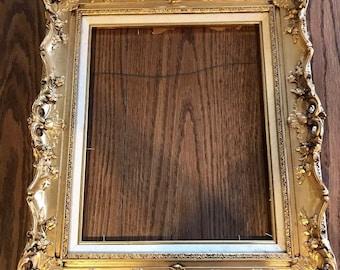 Antique Victorian Wood Frame-Gold
