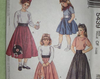 McCalls 5439 Children's Poodle Skirt, T-shirt, Scarf & Headband pattern size 4-6