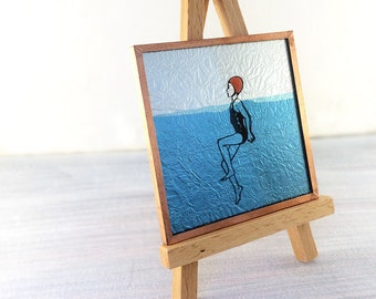 Miniature wall art, square wall tile, bathroom art, beach house art, upcycled glass swimmer artwork, swimming, vintage bather girl, water