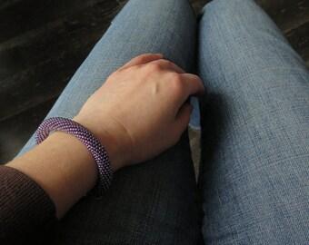 Purple Bracelet - Violet Bracelet - Glittering Bracelet - Bead Crochet Bracelet - Beaded Bracelet - Purple Jewelry - Amethyst - Lavender